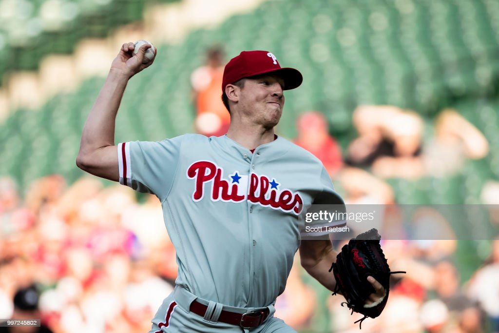 Nick Pivetta #43 of the Philadelphia Phillies pitches against the Baltimore Orioles during the first inning at Oriole Park at Camden Yards on July 12, 2018 in Baltimore, Maryland.
