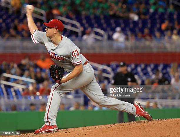 Nick Pivetta of the Philadelphia Phillies pitches during a game against the Miami Marlins at Marlins Park on July 19 2017 in Miami Florida