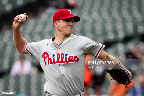 Nick Pivetta of the Philadelphia Phillies pitches during the first inning against the Baltimore Orioles at Oriole Park at Camden Yards on May 16 2018...