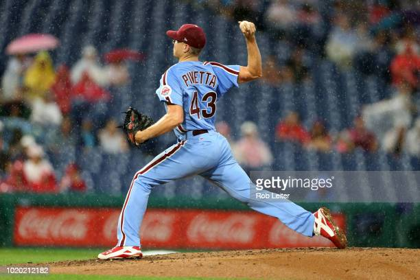 Nick Pivetta of the Philadelphia Phillies pitches during the game against the Miami Marlins at Citizens Bank Park on August 2 2018 in Philadelphia PA...