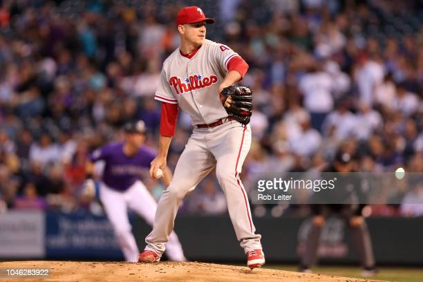 Nick Pivetta of the Philadelphia Phillies pitches during the game against the Colorado Rockies at Coors Field on September 26 2018 in Denver Colorado...
