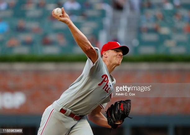 Nick Pivetta of the Philadelphia Phillies pitches in the first inning against the Atlanta Braves at SunTrust Park on June 14, 2019 in Atlanta,...