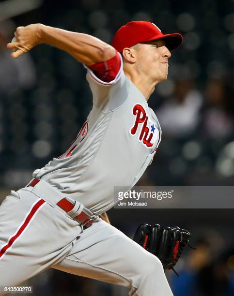 Nick Pivetta of the Philadelphia Phillies pitches in the first inning against the New York Mets at Citi Field on September 6 2017 in the Flushing...