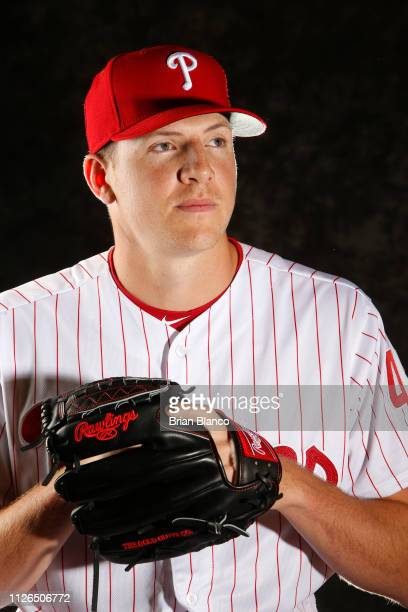 Nick Pivetta of the Philadelphia Phillies poses for a photo during the Phillies' photo day on February 19 2019 at Carpenter Field in Clearwater...