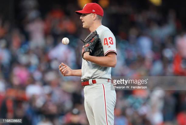 Nick Pivetta of the Philadelphia Phillies reacts after giving up an rbi triple to Kevin Pillar of the San Francisco Giants in the bottom of the...