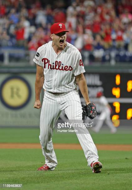Nick Pivetta of the Philadelphia Phillies reacts after saving a game in the ninth inning against the Chicago White Sox at Citizens Bank Park on...