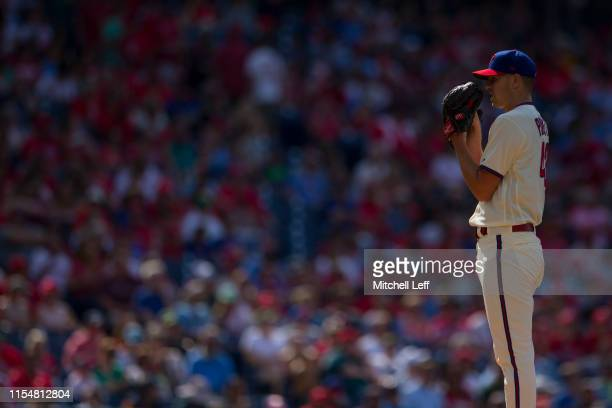 Nick Pivetta of the Philadelphia Phillies throws a pitch against the Cincinnati Reds at Citizens Bank Park on June 8, 2019 in Philadelphia,...