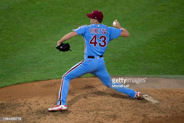 Nick Pivetta of the Philadelphia Phillies throws a pitch against the New York Yankees at Citizens Bank Park on August 6, 2020 in Philadelphia,...