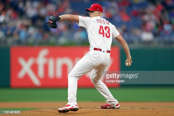 Nick Pivetta of the Philadelphia Phillies throws a pitch during a game against the St. Louis Cardinals at Citizens Bank Park on May 28, 2019 in...