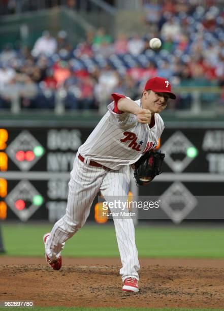 Nick Pivetta of the Philadelphia Phillies throws a pitch during a game against the San Francisco Giants at Citizens Bank Park on May 9 2018 in...