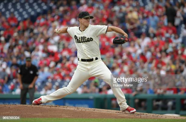 Nick Pivetta of the Philadelphia Phillies throws a pitch during a game against the Toronto Blue Jays at Citizens Bank Park on May 27 2018 in...