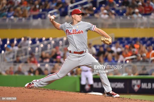 Nick Pivetta of the Philadelphia Phillies throws a pitch during the third inning against the Miami Marlins at Marlins Park on September 1 2017 in...