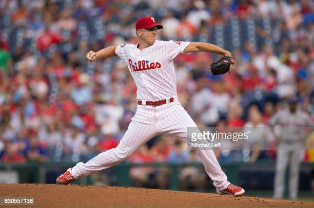 Nick Pivetta of the Philadelphia Phillies throws a pitch in the top of the first inning against the New York Mets at Citizens Bank Park on August 11...