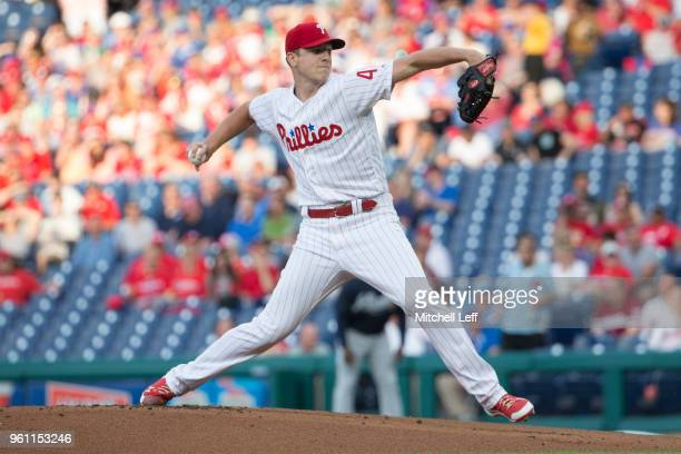 Nick Pivetta of the Philadelphia Phillies throws a pitch in the top of the first inning against the Atlanta Braves at Citizens Bank Park on May 21...