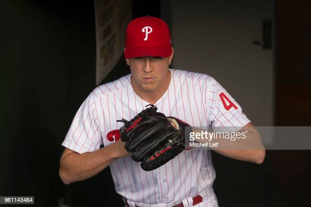 Nick Pivetta of the Philadelphia Phillies walks out of the clubhouse prior to the game against the Atlanta Braves at Citizens Bank Park on May 21...