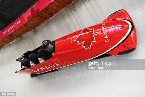 Nick Poloniato Cameron Stones Joshua Kirkpatrick and Ben Coakwell of Canada compete during 4man Bobsleigh Heats on day fifteen of the PyeongChang...