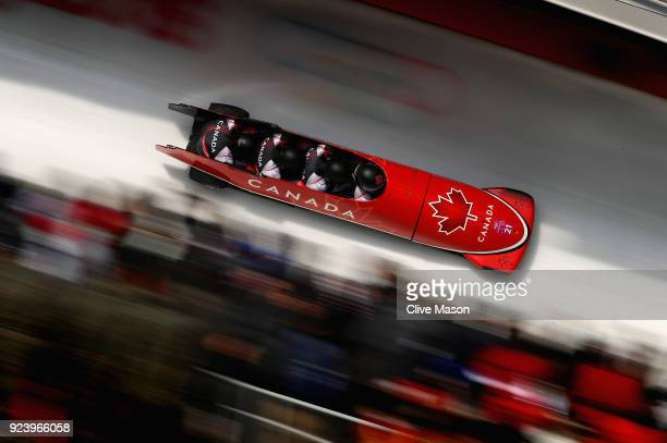 Nick Poloniato Cameron Stones Joshua Kirkpatrick and Ben Coakwell of Canada make a final run during the 4man Boblseigh Heats on day sixteen of the...