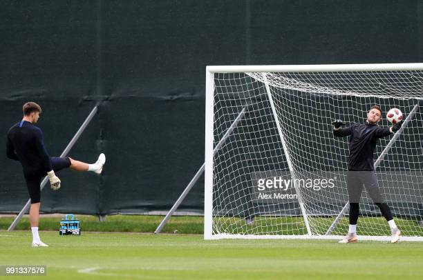 Nick Pope and Jack Butland warm up during an England training session on July 4 2018 in Saint Petersburg Russia