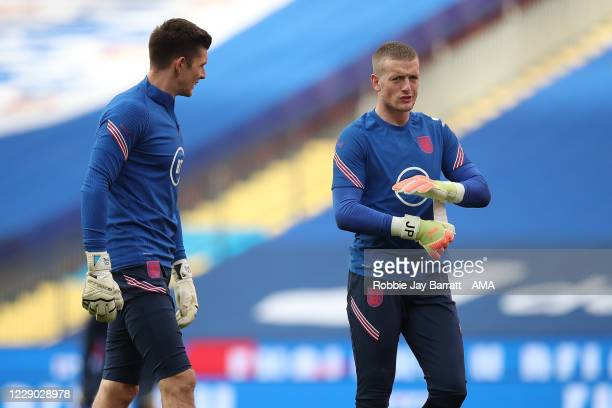 Nick Pope and Jordan Pickford of England during the UEFA Nations League group stage match between England and Belgium at Wembley Stadium on October...