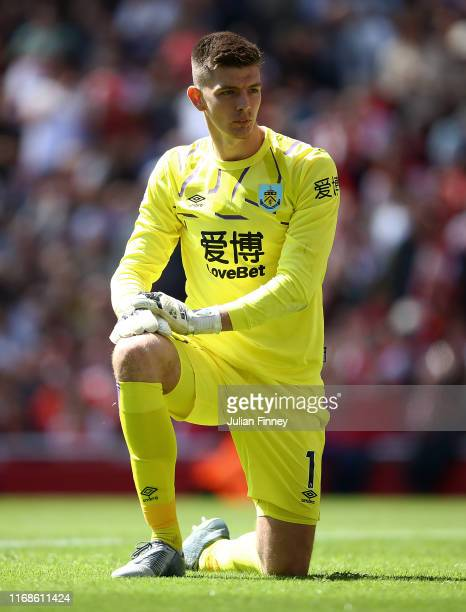 Nick Pope goalkeeper of Burnley looks on during the Premier League match between Arsenal FC and Burnley FC at Emirates Stadium on August 17 2019 in...