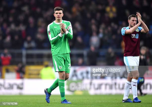 Nick Pope of Burnley acknowledges the fans after the FA Cup Third Round match between Burnley and Barnsley at Turf Moor on January 5 2019 in Burnley...