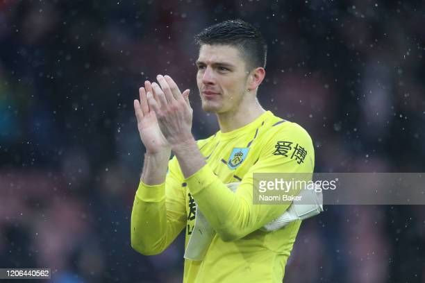 Nick Pope of Burnley applauds fans after the Premier League match between Southampton FC and Burnley FC at St Mary's Stadium on February 15 2020 in...
