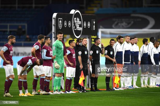 Nick Pope of Burnley as the teams line up prior to the Premier League match between Burnley and Tottenham Hotspur at Turf Moor on October 26 2020 in...