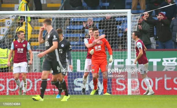 Nick Pope of Burnley celebrates after saving Jamie Vardy of Leicester City penalty during the Premier League match between Burnley FC and Leicester...