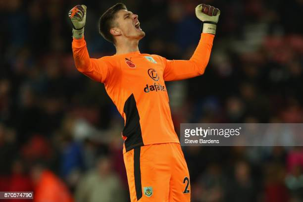 Nick Pope of Burnley celebrates during the Premier League match between Southampton and Burnley at St Mary's Stadium on November 4 2017 in...