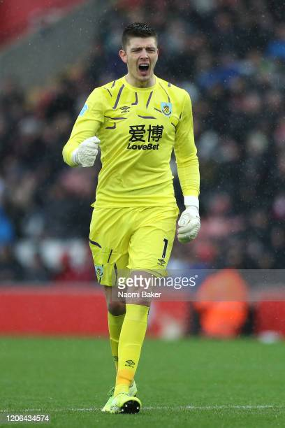 Nick Pope of Burnley celebrates following his team's second goal during the Premier League match between Southampton FC and Burnley FC at St Mary's...
