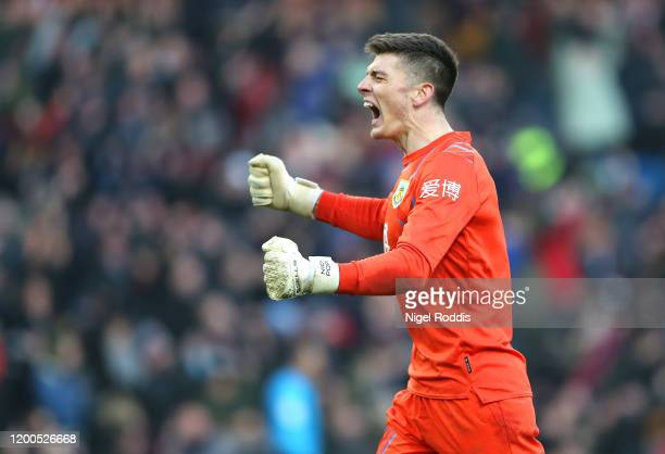 Nick Pope of Burnley celebrates his side second goal during the Premier League match between Burnley FC and Leicester City at Turf Moor on January 19...