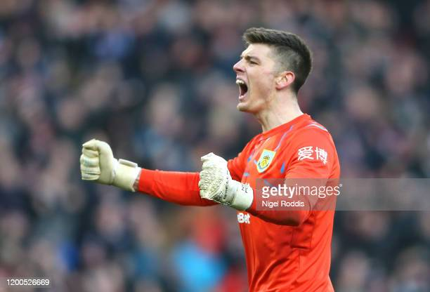 Nick Pope of Burnley celebrates his side second goal during the Premier League match between Burnley FC and Leicester City at Turf Moor on January...
