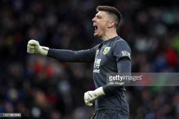 Nick Pope of Burnley celebrates his sides third goal during the Premier League match between Burnley FC and AFC Bournemouth at Turf Moor on February...