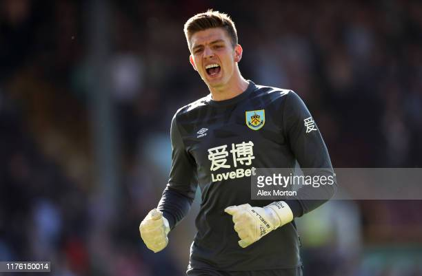 Nick Pope of Burnley celebrates his teams second goal during the Premier League match between Burnley FC and Norwich City at Turf Moor on September...