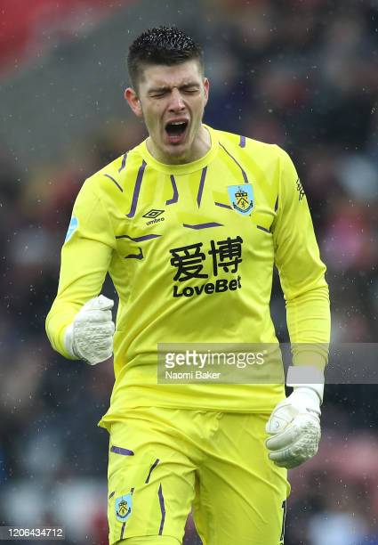 Nick Pope of Burnley celebrates his teams second goal during the Premier League match between Southampton FC and Burnley FC at St Mary's Stadium on...