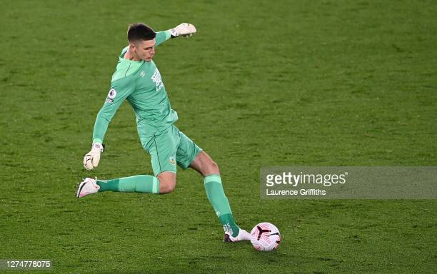 Nick Pope of Burnley clears the ball during the Premier League match between Leicester City and Burnley at The King Power Stadium on September 20...