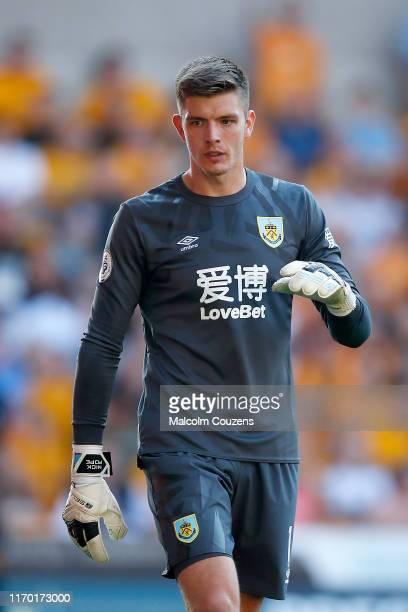 Nick Pope of Burnley during the Premier League match between Wolverhampton Wanderers and Burnley FC at Molineux on August 25 2019 in Wolverhampton...