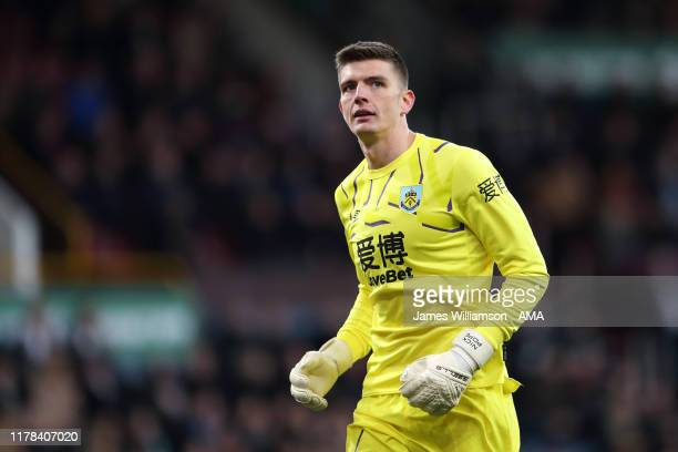 Nick Pope of Burnley during the Premier League match between Burnley FC and Chelsea FC at Turf Moor on October 26 2019 in Burnley United Kingdom