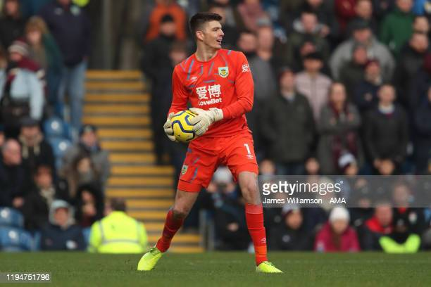 Nick Pope of Burnley during the Premier League match between Burnley FC and Leicester City at Turf Moor on January 19 2020 in Burnley United Kingdom