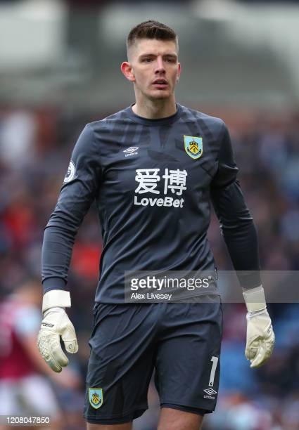 Nick Pope of Burnley during the Premier League match between Burnley FC and AFC Bournemouth at Turf Moor on February 22 2020 in Burnley United Kingdom