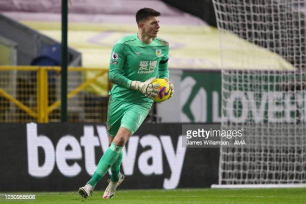 Nick Pope of Burnley during the Premier League match between Burnley and Manchester City at Turf Moor on February 3, 2021 in Burnley, United Kingdom....