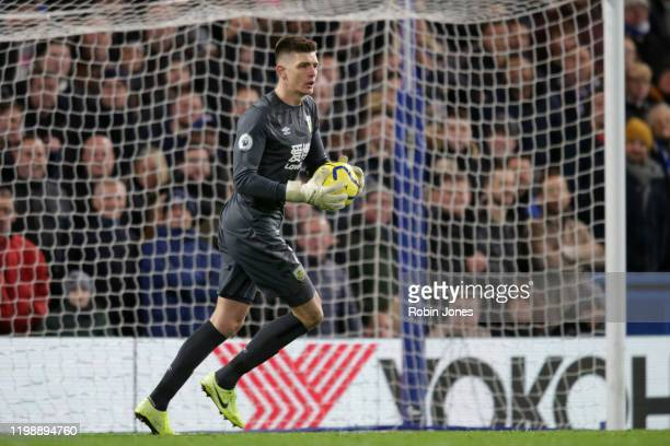 Nick Pope of Burnley during the Premier League match between Chelsea FC and Burnley FC at Stamford Bridge on January 11 2020 in London United Kingdom