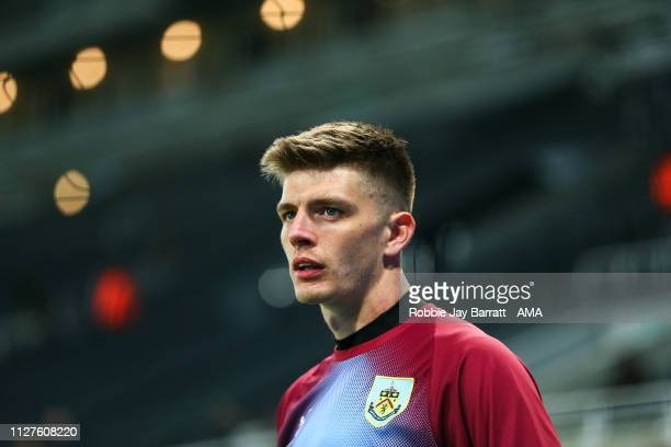 Nick Pope of Burnley during the Premier League match between Newcastle United and Burnley FC at St James Park on February 26 2019 in Newcastle upon...