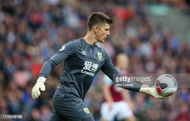 Nick Pope of Burnley FC during the Premier League match between Burnley FC and Everton FC at Turf Moor on October 05 2019 in Burnley United Kingdom