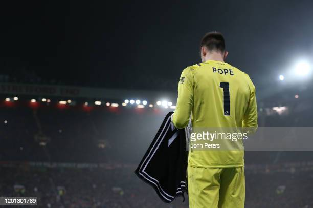 Nick Pope of Burnley in action during the Premier League match between Manchester United and Burnley FC at Old Trafford on January 22 2020 in...
