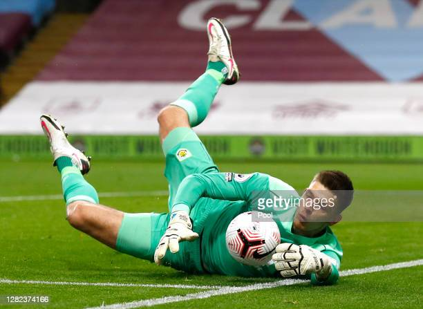 Nick Pope of Burnley keeps the ball in play during the Premier League match between Burnley and Tottenham Hotspur at Turf Moor on October 26 2020 in...