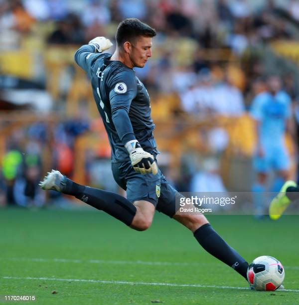 Nick Pope of Burnley kicks the ball upfield during the Premier League match between Wolverhampton Wanderers and Burnley FC at Molineux on August 25...