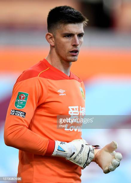 Nick Pope of Burnley looks on during the Carabao Cup second round match between Burnley and Sheffield United at Turf Moor on September 17 2020 in...