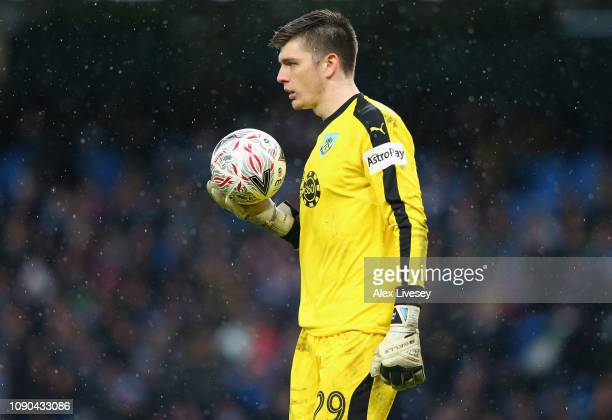 Nick Pope of Burnley looks on during the FA Cup Fourth Round match between Manchester City and Burnley at Etihad Stadium on January 26 2019 in...