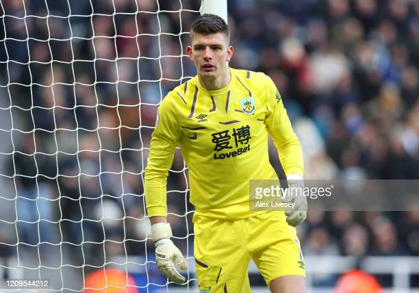 Nick Pope of Burnley looks on during the Premier League match between Newcastle United and Burnley FC at St James Park on February 29 2020 in...